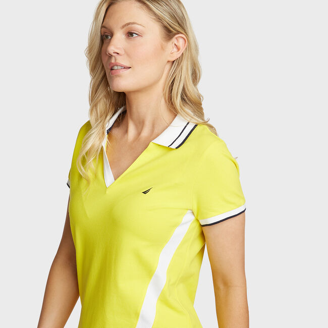 Stretch Pique Polo,Blazing Yellow,large