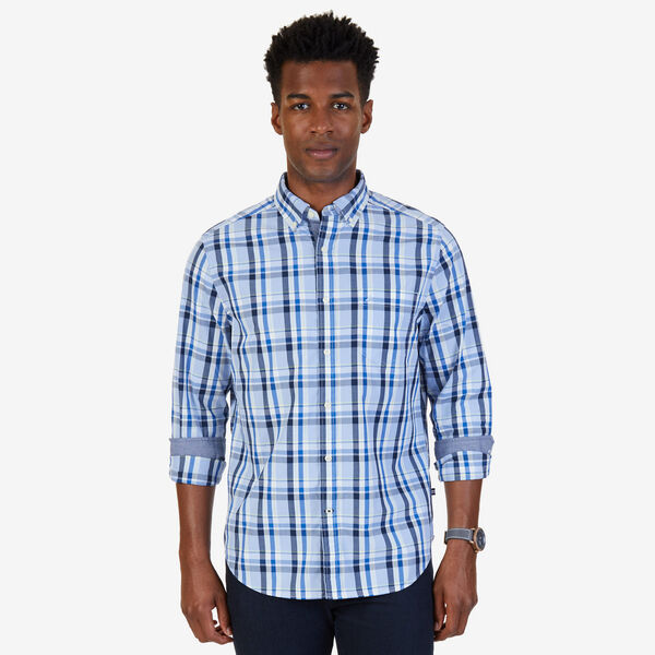 Plaid Poplin Classic Fit Button-Down Shirt - Light Dusk