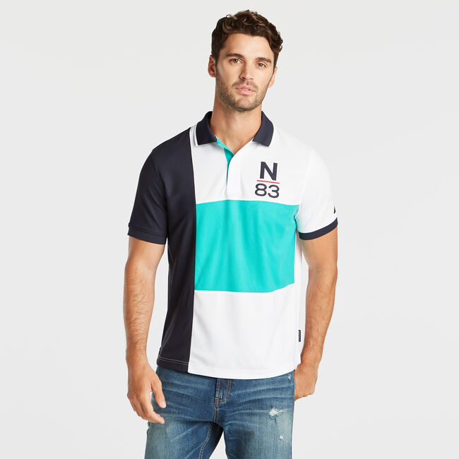 CLASSIC FIT NAVTECH PIECED N-83 PERFORMANCE POLO,Pine Forest Heather,large