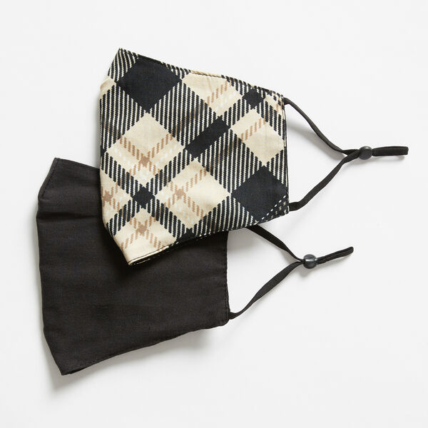 PLAID AND SOLID REUSABLE FACE MASK, 2 PACK - Military Tan