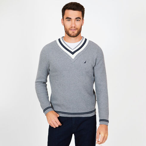 Cable Tipped V-Neck Sweater - Moorings Grey Heather