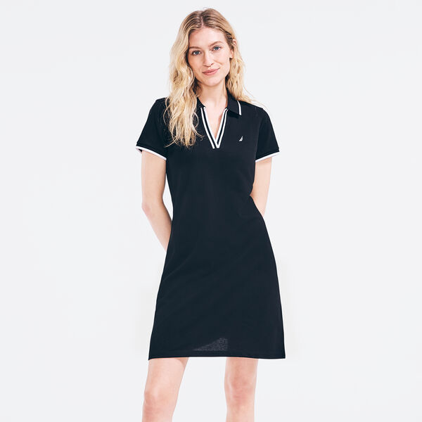 SUSTAINABLY CRAFTED SPLIT-NECK POLO DRESS - True Black