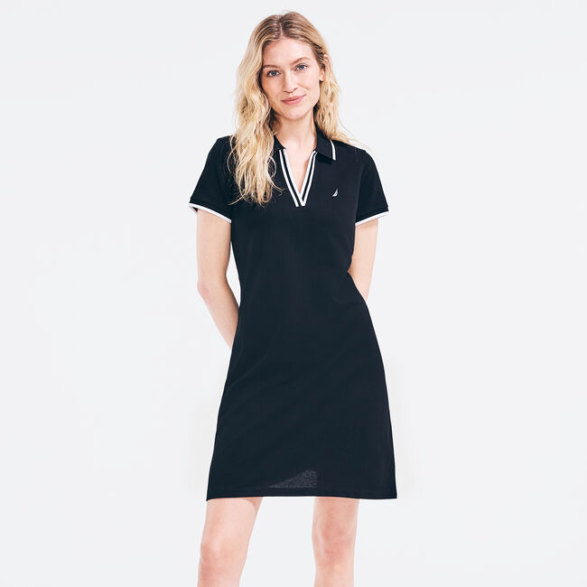 SUSTAINABLY CRAFTED SPLIT-NECK POLO DRESS,True Black,large