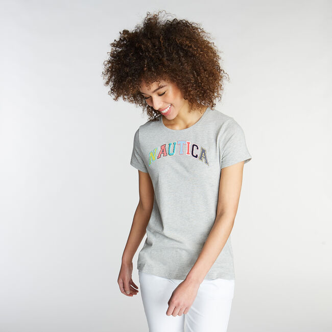 CLASSIC FIT T-SHIRT IN LOGO GRAPHIC,Grey Heather,large