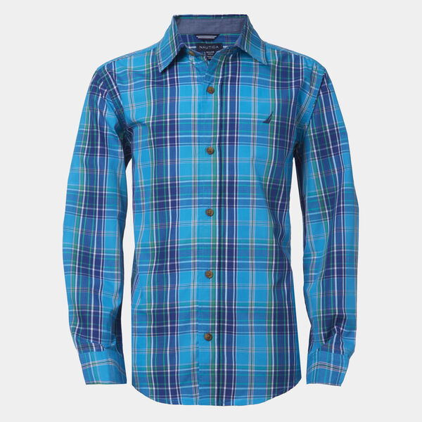 BOYS' PLAID WOVEN BUTTON-DOWN SHIRT (8-20) - Dark Pine