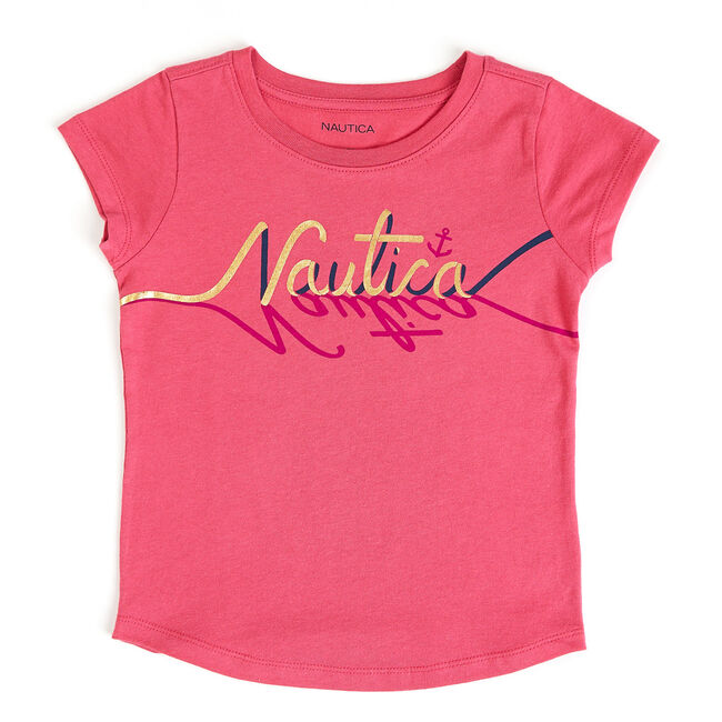 Little Girls' Gold Foil Nautica Logo Tee (4-6X),Red Combo,large
