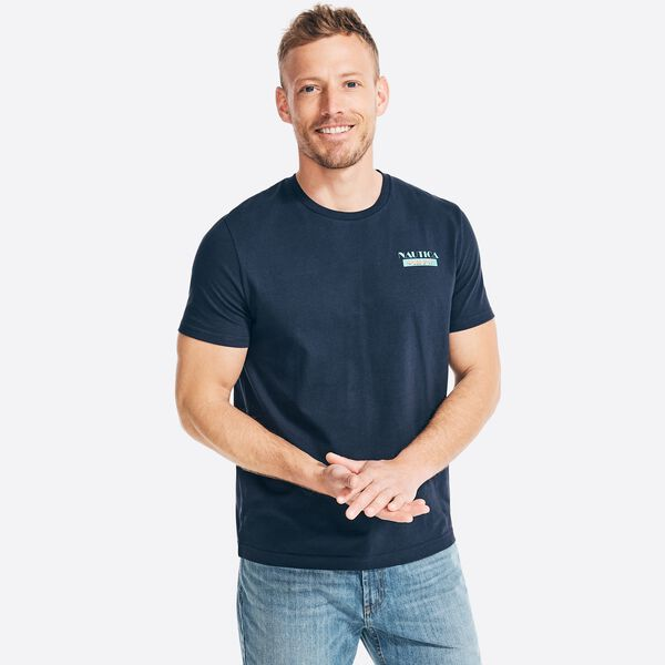 SUSTAINABLY CRAFTED COMPASS GRAPHIC T-SHIRT - Navy