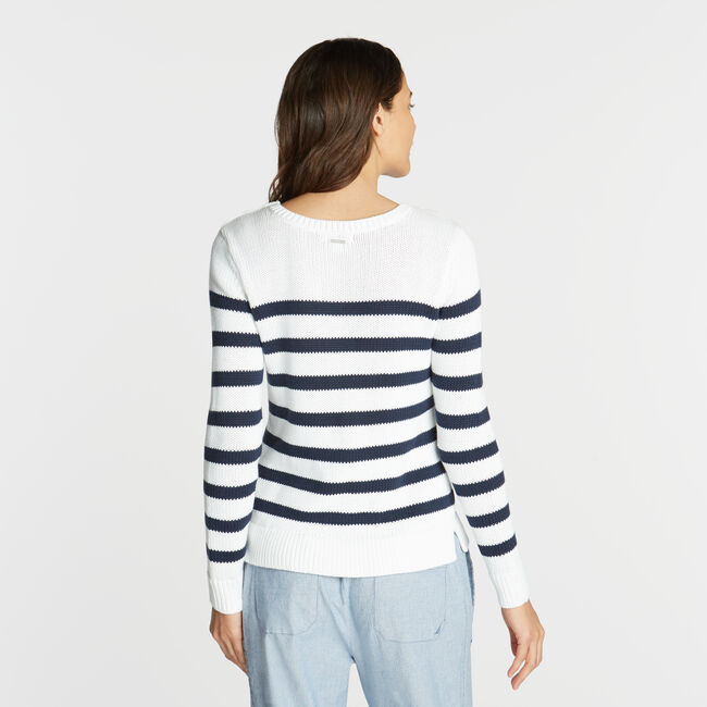CLASSIC FIT CREWNECK SWEATER IN STRIPE,Bright White,large