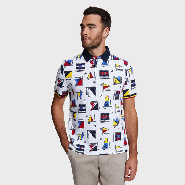 Classic Fit Large Flag Motif Cotton Polo - Bright White