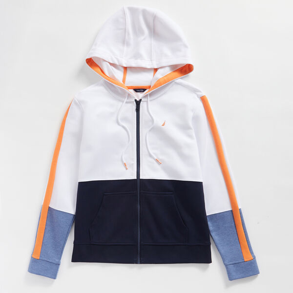 COLORBLOCK FULL ZIP HOODIE - Bright White