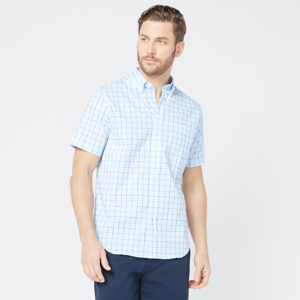 CLASSIC FIT WRINKLE-RESISTANT PLAID SHORT SLEEVE SHIRT - Azure Blue