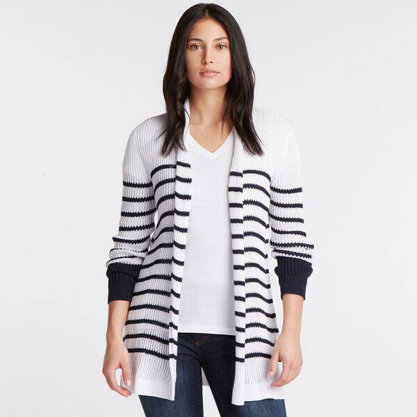 Long Sleeve Open Front Cardigan - Bright White