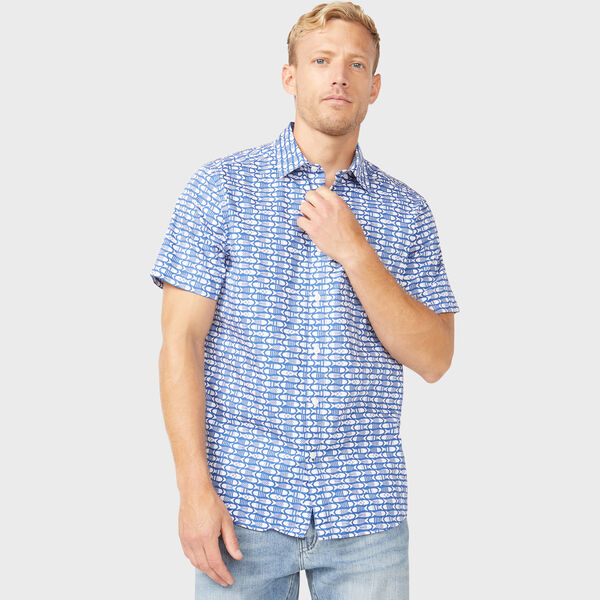 CLASSIC FIT FISH PRINTED SHIRT - Windsurf Blue