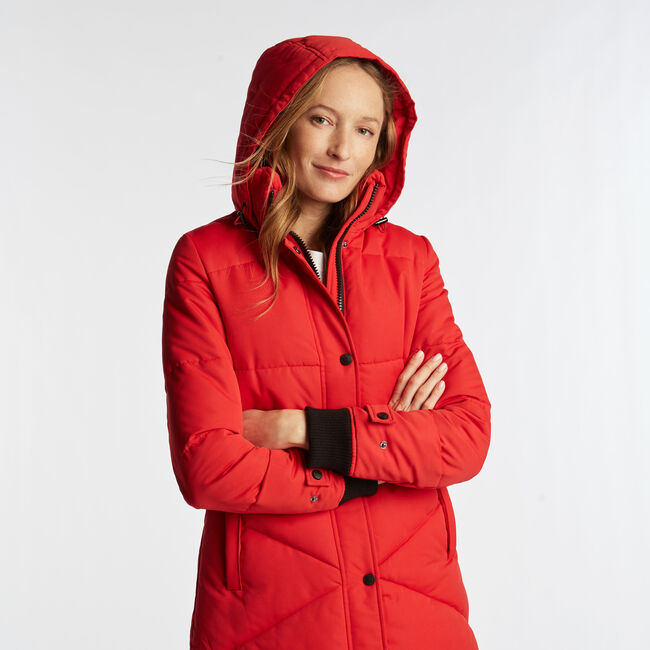WOMEN'S LONG QUILTED PUFFER COAT,Tomales Red,large