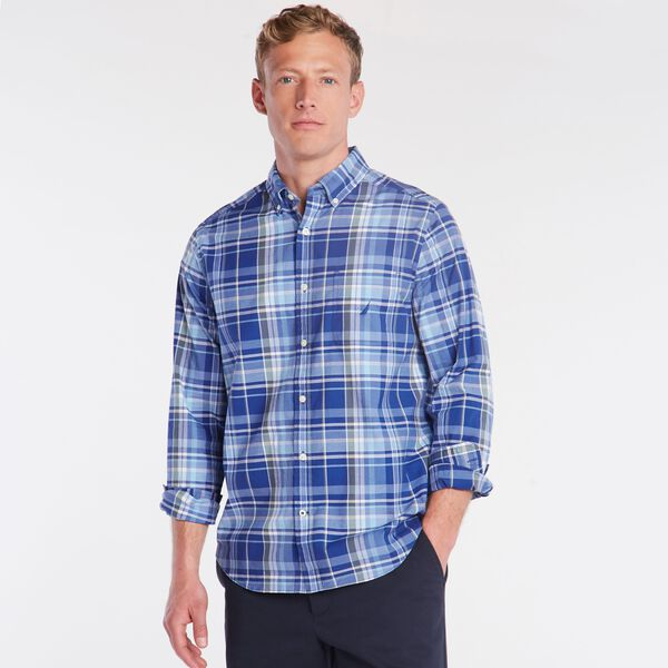 BIG & TALL CLASSIC FIT STRETCH POPLIN SHIRT IN PLAID - Limoges
