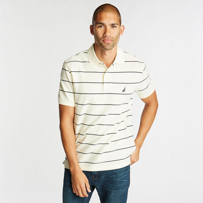 Classic Fit Striped Performance  Polo Shirt,Sail Cream,large