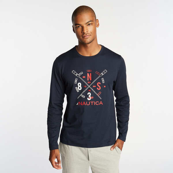SUPER SOFT LONG SLEEVE OARS TEE - Navy