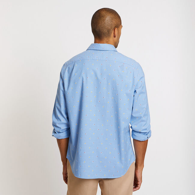Oxford Classic Fit Flag Long Sleeve Shirt,Riviera Blue,large