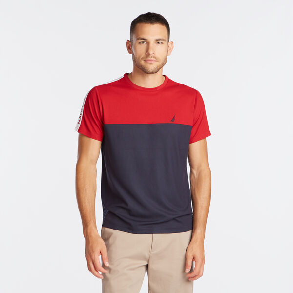 PIECED COLORBLOCK PERFORMANCE TEE - Nautica Red