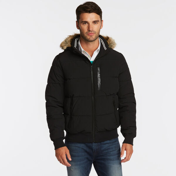 STRETCH BOMBER WITH REMOVABLE HOOD - Black
