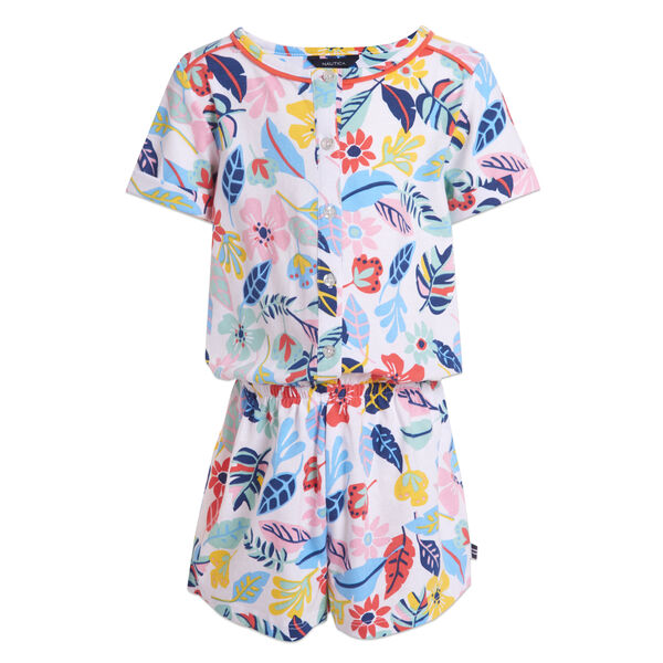 LITTLE GIRLS' FLORAL KNIT ROMPER (4-7) - Blue Stern
