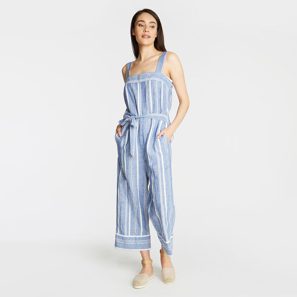 CROP WIDE LEG LINEN JUMPSUIT IN STRIPE - Bayberry Blue