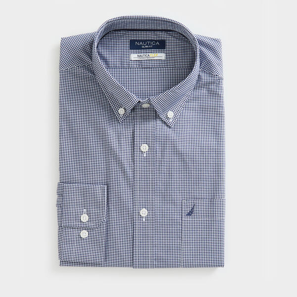 SLIM FIT WRINKLE-RESISTANT SHIRT IN MICRO GINGHAM - J Navy