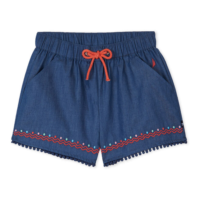 GIRLS' PULL ON EMBROIDERED CHAMBRAY SHORTS,Ocean Blue,large