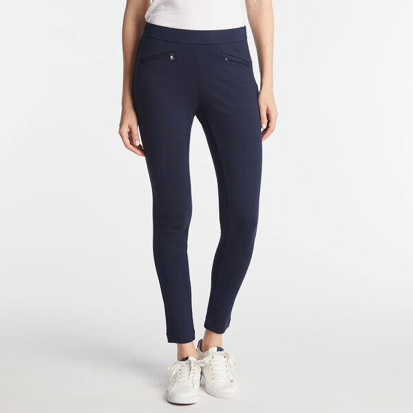 PULL ON PONTE ANKLE PANTS - Stellar Blue Heather