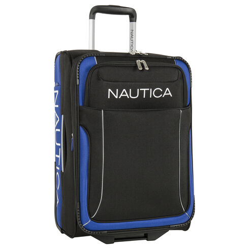 "Point of Sail 21"" Expandable Luggage in Black/Cobalt - True Black"