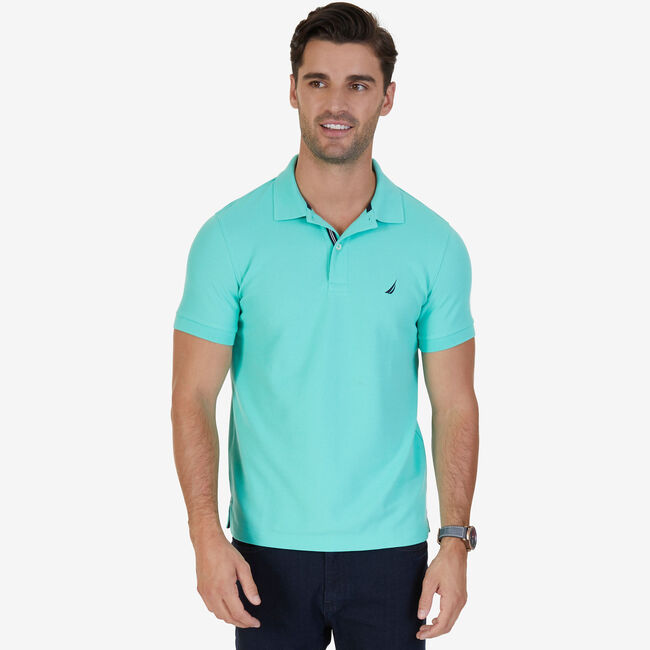 Short Sleeve Slim Fit Performance Tech Polo Shirt,Mint Spring,large