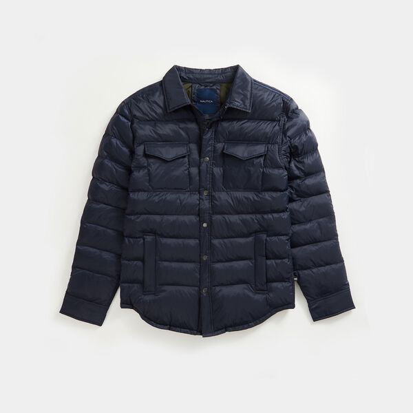 STRIPE-STITCHED RIPSTOP OVERSHIRT - Navy