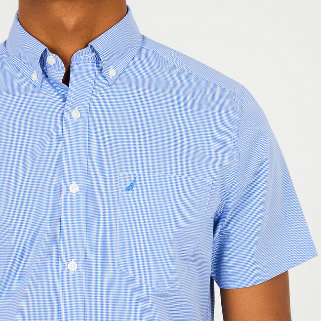 Micro-Check Classic Fit Short Sleeve Shirt,French Blue,large