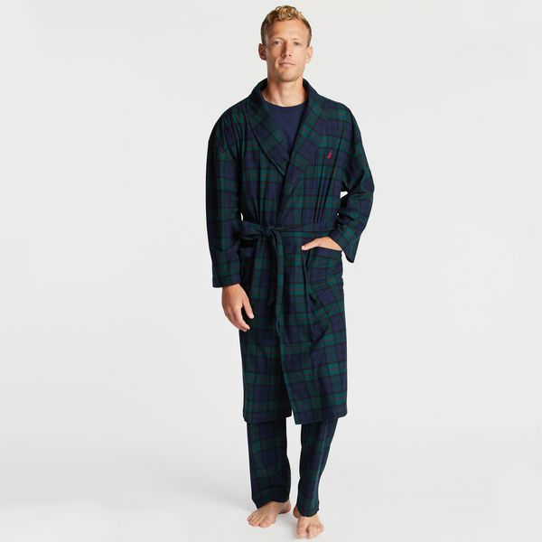 PLAID FLEECE ROBE - Kelp Seas