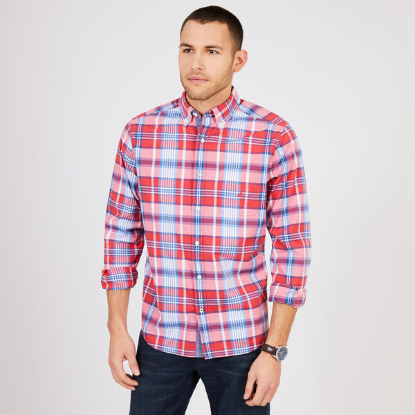 Big & Tall Long Sleeve Poplin Plaid Shirt - Sailor Red