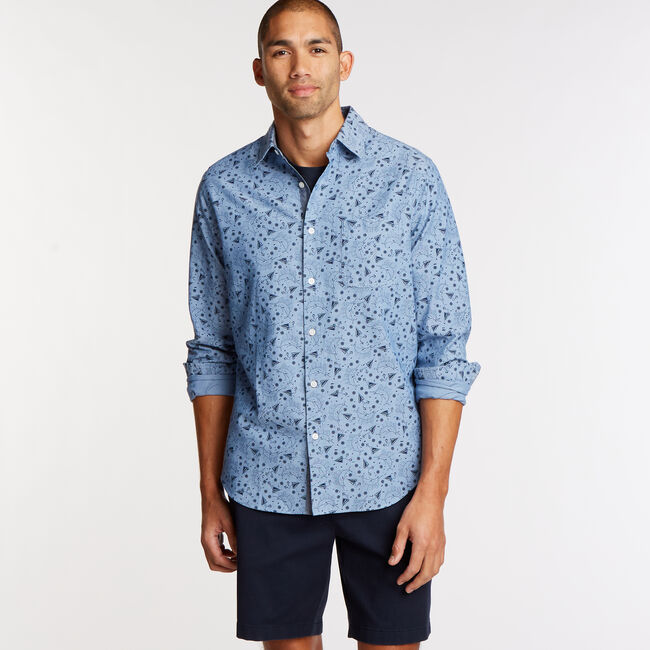 Classic Fit Chambray Shirt in Print,Riviera Blue,large