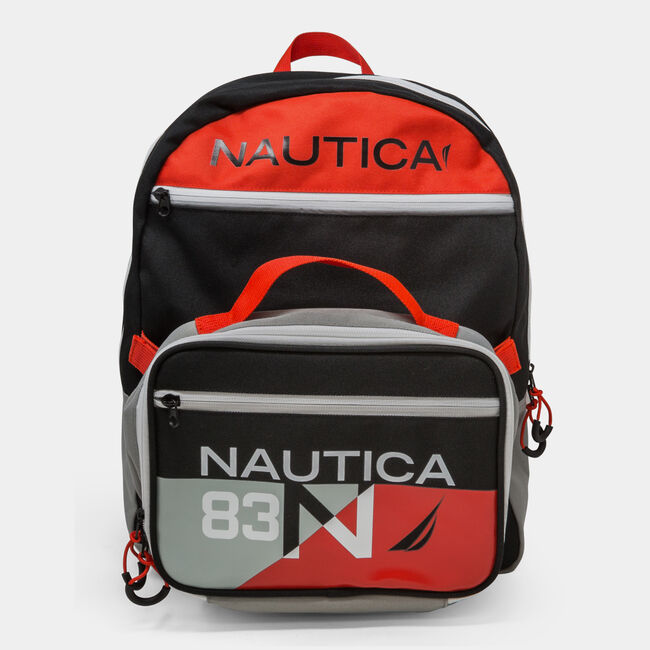 COLORBLOCK LOGO BACKPACK WITH LUNCH BAG,Black,large