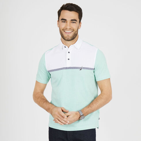 Classic Fit Short Sleeve Colorblock Palm Springs Polo - Mist Green
