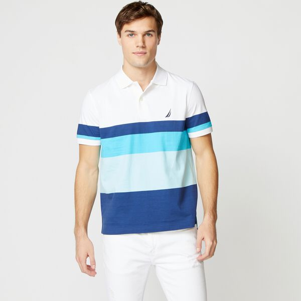 PREMIUM COTTON COLORBLOCK STRIPE POLO - Bright White