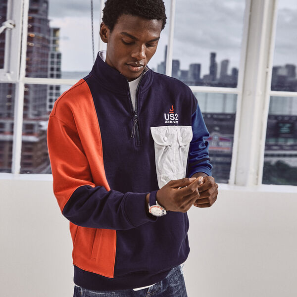 NAUTICA X URBAN NECESSITIES COLORBLOCK PULLOVER - Navy