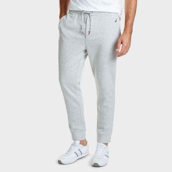 Drawstring Fleece Logo Joggers - Grey Heather