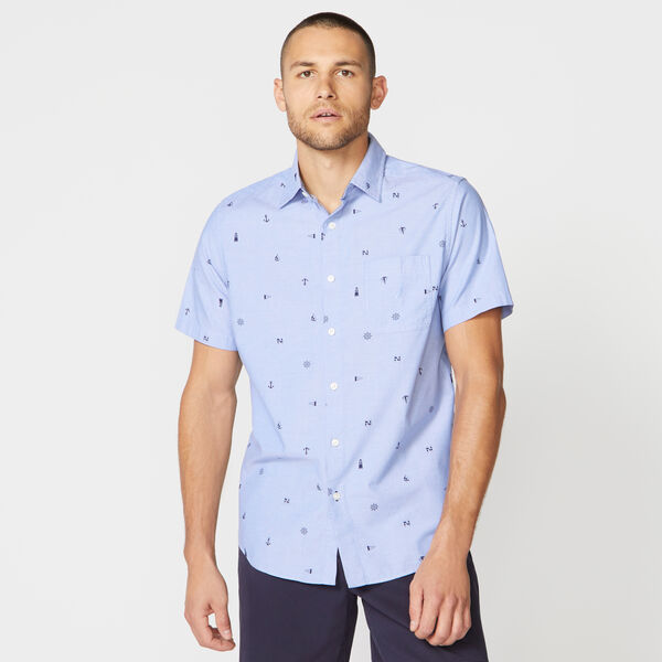 CLASSIC FIT NAUTICAL ICON PRINT CHAMBRAY SHIRT - Riviera Blue