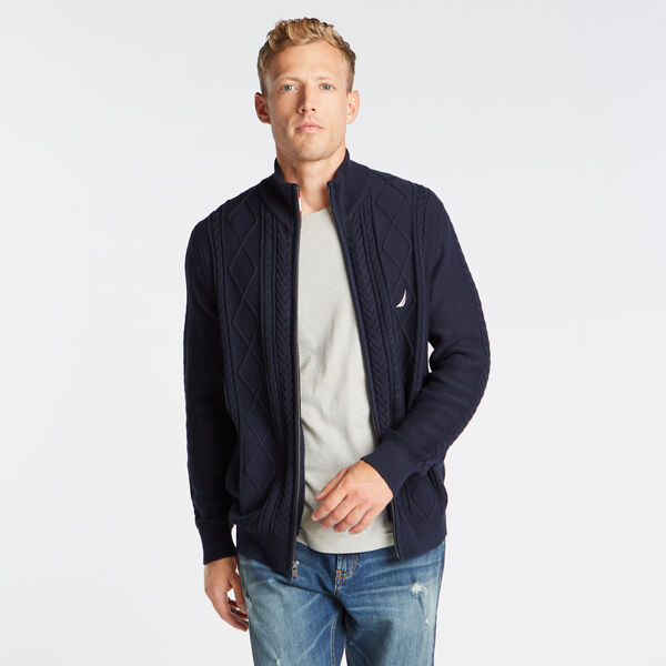 FULL ZIP CABLE KNIT SWEATER - Pure Dark Pacific Wash
