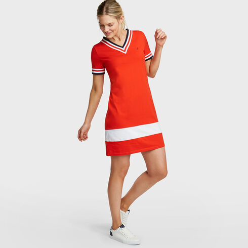Elbow Sleeves Knit Dress - Firey Red
