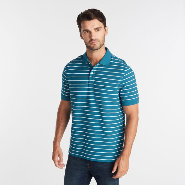 CLASSIC FIT STRIPED DECK POLO - Capri Blue