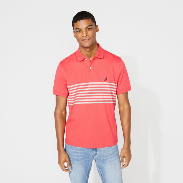 CLASSIC FIT PERFORMANCE TECH POLO IN STRIPE - Melonberry