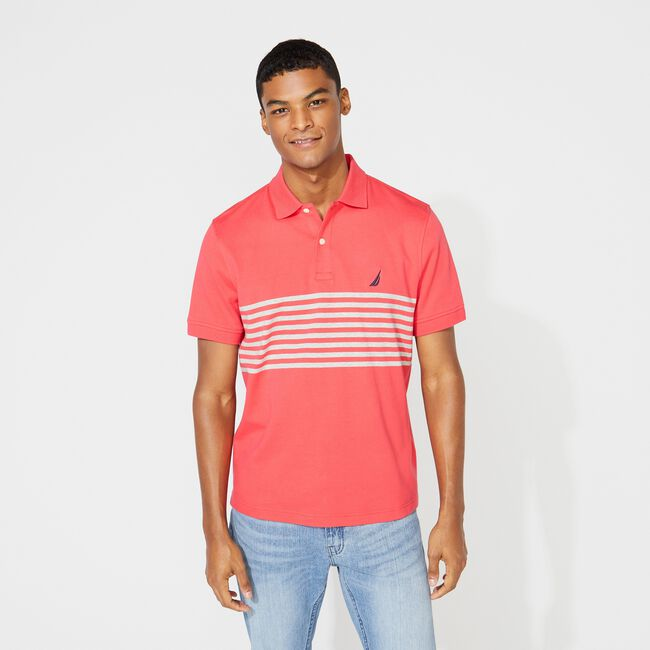 CLASSIC FIT PERFORMANCE TECH POLO IN STRIPE,Melonberry,large