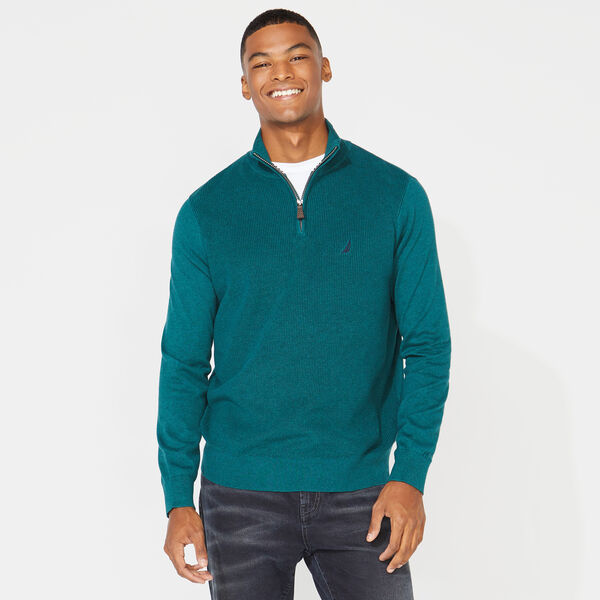QUARTER ZIP RIBBED FRONT SWEATER - Shaded Spruce Heather