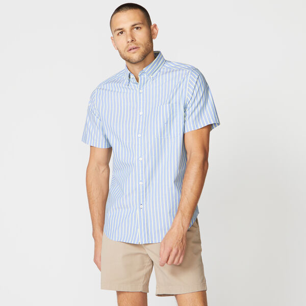 CLASSIC FIT STRIPE POPLIN SHIRT - Riviera Blue