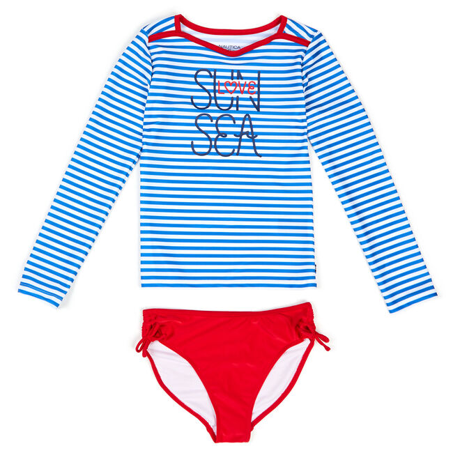 Girls' Striped Two-Piece Swimsuit (7-16),Ice Blue,large